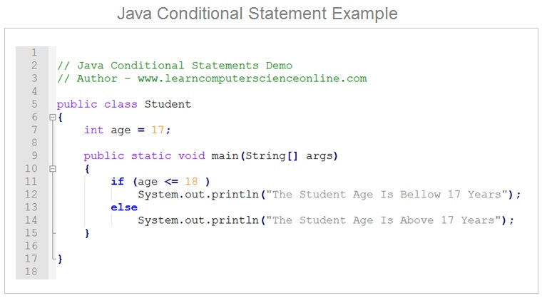 Java Conditional Statement Example , Java Programming Basics